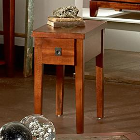 Transitional Chairside End Table with Slate Inlay