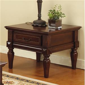 Single Drawer Traditional End Table with Nailhead Trim