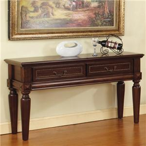2 Drawer Traditional Sofa Table with Nailhead Trim