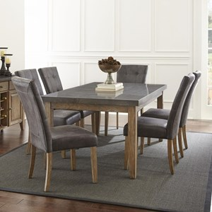 7 Piece Transitional Table and Chair Set with Bluestone Top