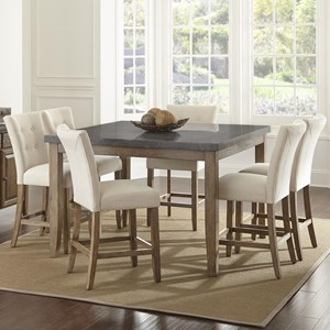 7 Piece Transitional Square Table and Chair Set with Bluestone Top