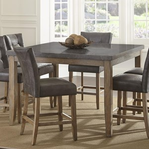 Transitional Square Counter Height Dining Table with Bluestone Top