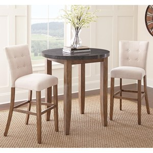 3 Piece Bar Height Dining Set with Bluestone Table Top