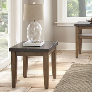Industrial End Table with Bluestone Top