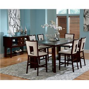 7-Piece Contemporary Counter Height Table & Side Chair Set