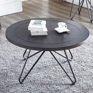 Industrial Round Cocktail Table with Metal Base