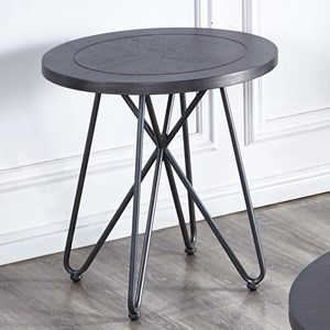 Industrial Round End Table with Iron Base