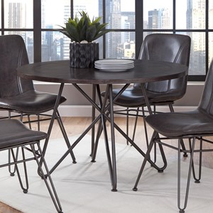 """45"""" Round Industrial Dining Table with Iron Base"""