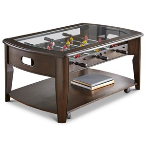 Cocktail Table with Foosball Game and Included Pieces