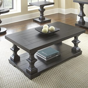Rectangular Cocktail Table with Plank Style Top