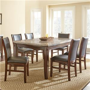 7-Piece Marble Topped Dining Table with Upholstered Side Chair Set