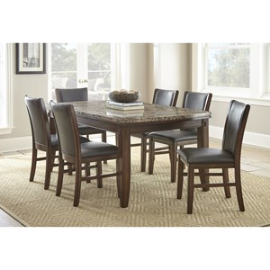 7-Piece Brown Marble Topped Dining Table with Upholstered Side Chair Set