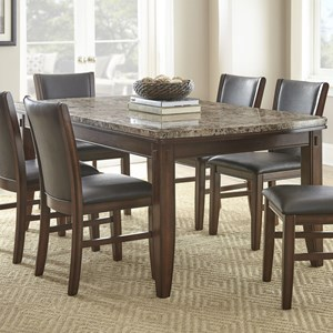 Brown Marble Dining Table with Tapered Legs and Pecan Finish