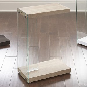 Chair Side End Table with Tempered Glass Edge