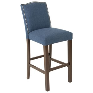 Transitional Upholstered Bar Stool with Nailheads