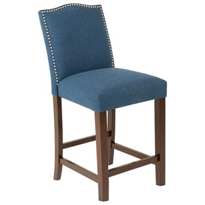 Transitional Upholstered Counter Stool with Nailheads