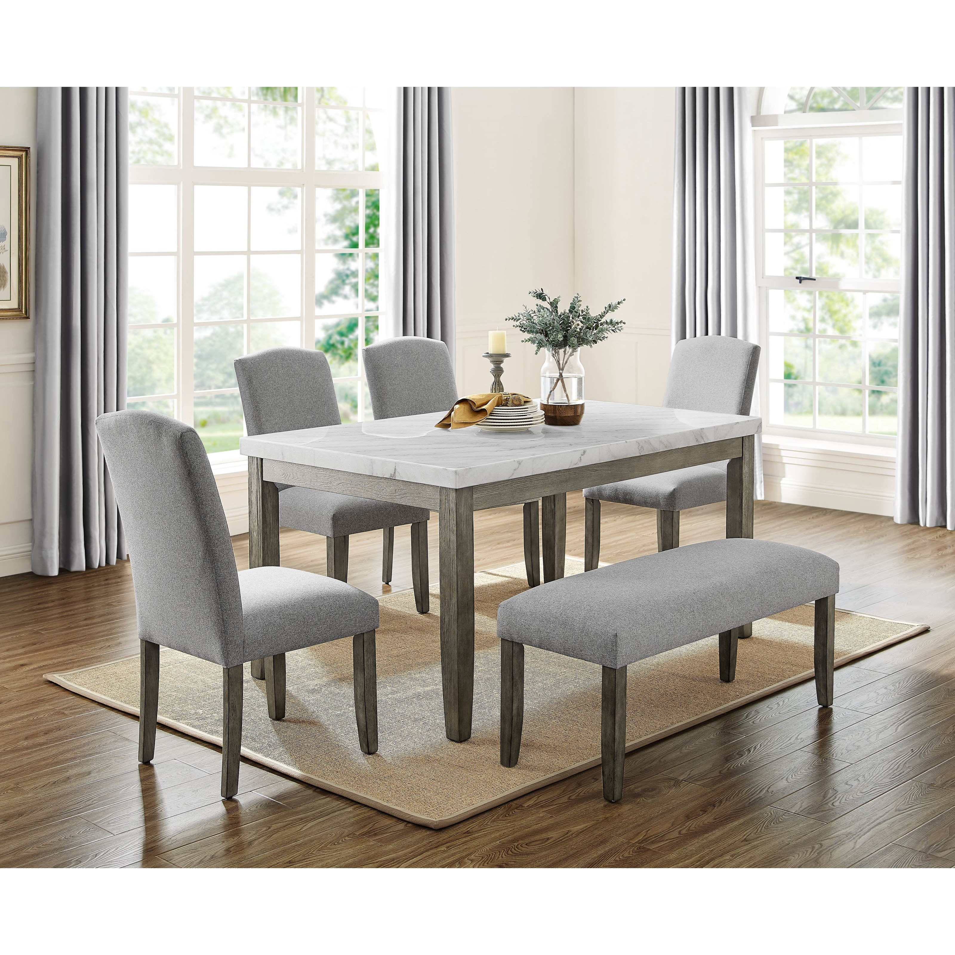 Emily Table & Chair Set with Bench by Steve Silver at Walker's Furniture