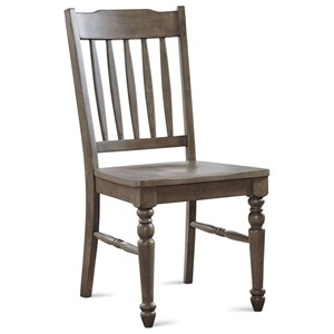 Farmhouse Slat Back Side Chair with Turned Legs