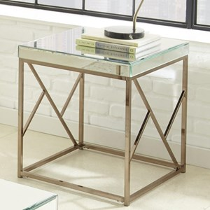 Glam Mirror End Table with Contemporary Metal Base