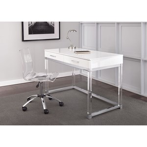 Chrome and Acrylic Writing Desk and Swivel Chair Set