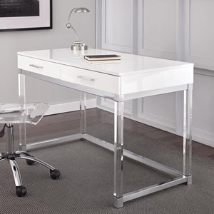 Two Drawer Writing Desk with Acrylic Base