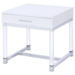 1 Drawer End Table with Acrylic Legs