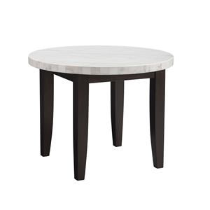 5 Piece Round Marble Top Counter Height Table and 4 Blue Upholstered Counter Height Barstools Set
