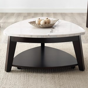 Contemporary Triangle Cocktail Table with Marble Top and Casters