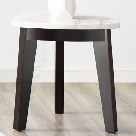 White Marble Top Triangle End Table
