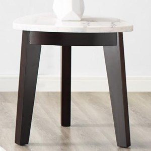 Contemporary Triangle End Table with Marble Top