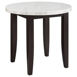Contemporary Round Counter Height Dining Table with Marble Top