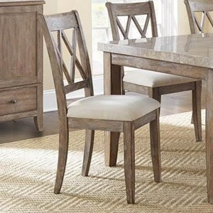 Double X Back Dining Chair with Upholstered Seat