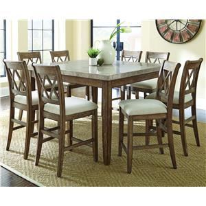 9 Piece Marble Counter Height Dining Set