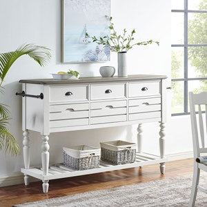 Cottage 6-Drawer Sideboard with Open Shelf and Towel Rack