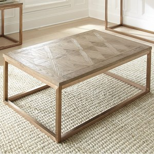 Contemporary Cocktail Table with Parquet Pattern Wood Top
