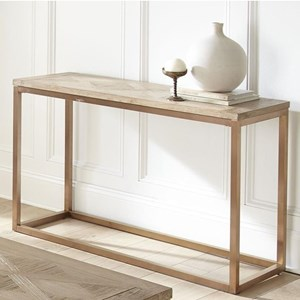 Contemporary Sofa Table with Parquet Pattern Wood Top