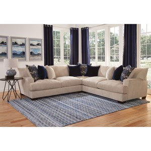 Transitional Sectional Sofa with Gel-Infused Cushions and Solid Wood Legs
