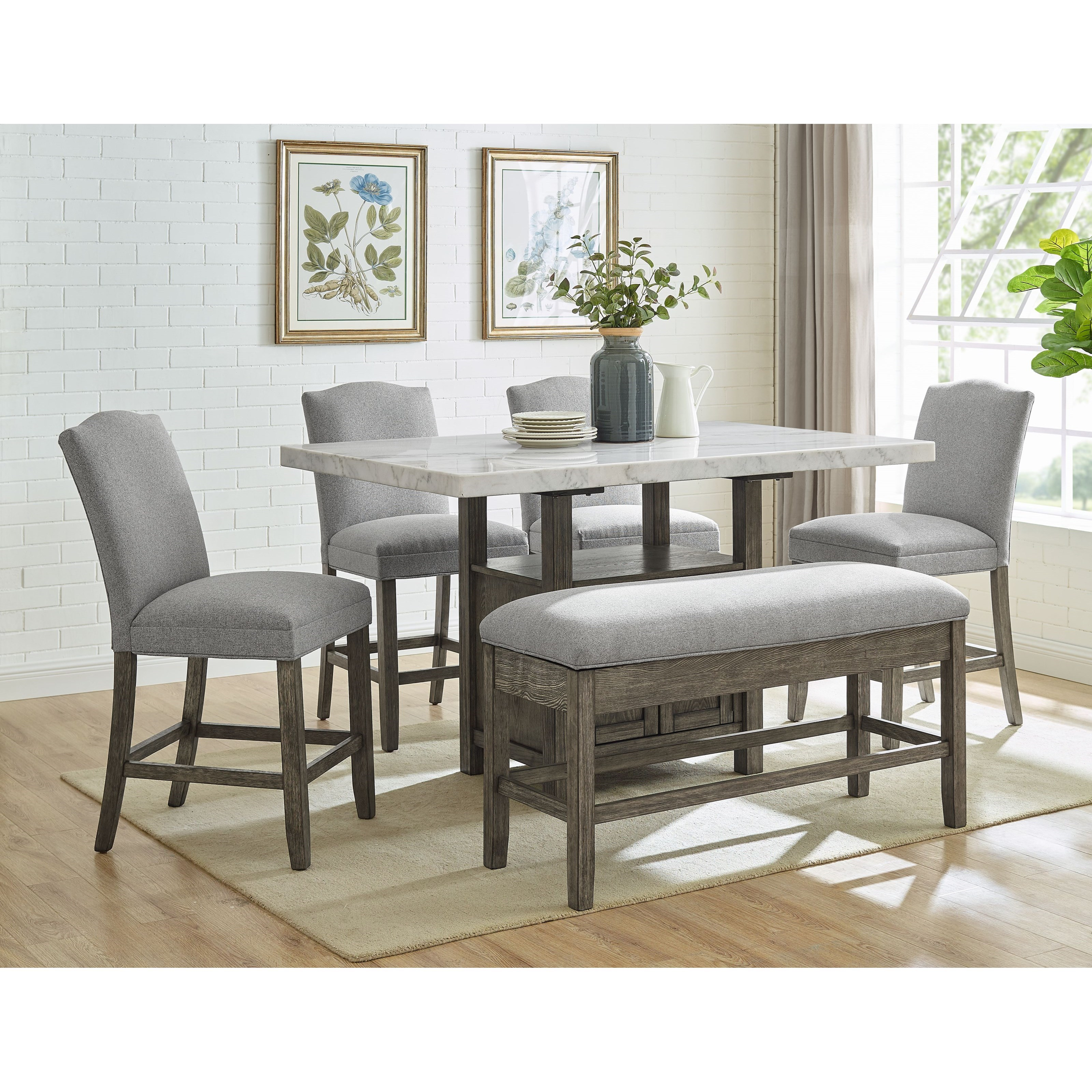 Grayson Counter Height Dining Set with Bench by Steve Silver at Northeast Factory Direct