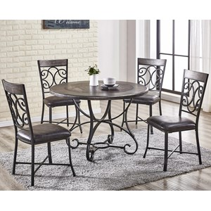 Traditional Five Piece Dining Set with Scrolled Metal Table and Chairs