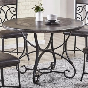 Traditional Small-Scale Round Dining Table with Scrolled Iron and Stone Tile