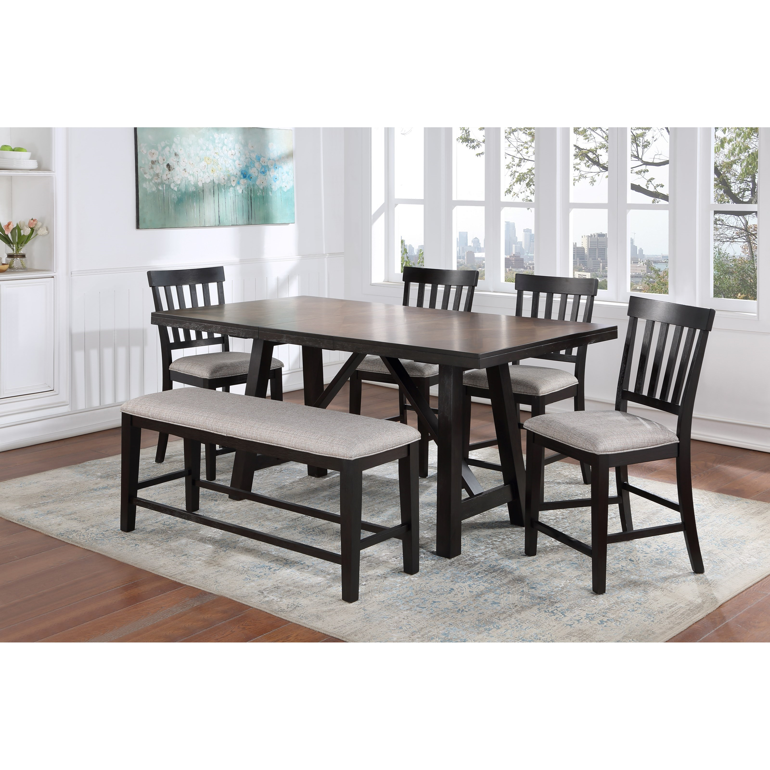 Halle Table & Chair Set with Bench by Steve Silver at Walker's Furniture