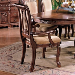 Traditional Upholstered Seat Dining Arm Chair