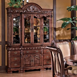 Traditional Carved Trim China Cabinet with Storage