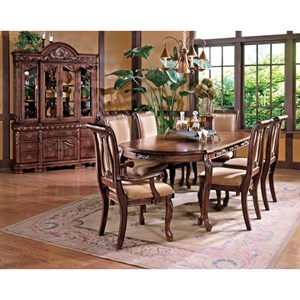 7-Piece Traditional Oval Dining Table and Upholstered Seat Dining Chair Set