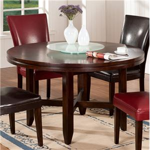 "52"" Round Contemporary Dining Table with Lazy Susan"