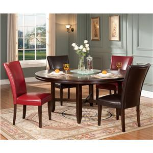 """5-Piece Contemporary 72"""" Round Table & Parsons Chair Set"""