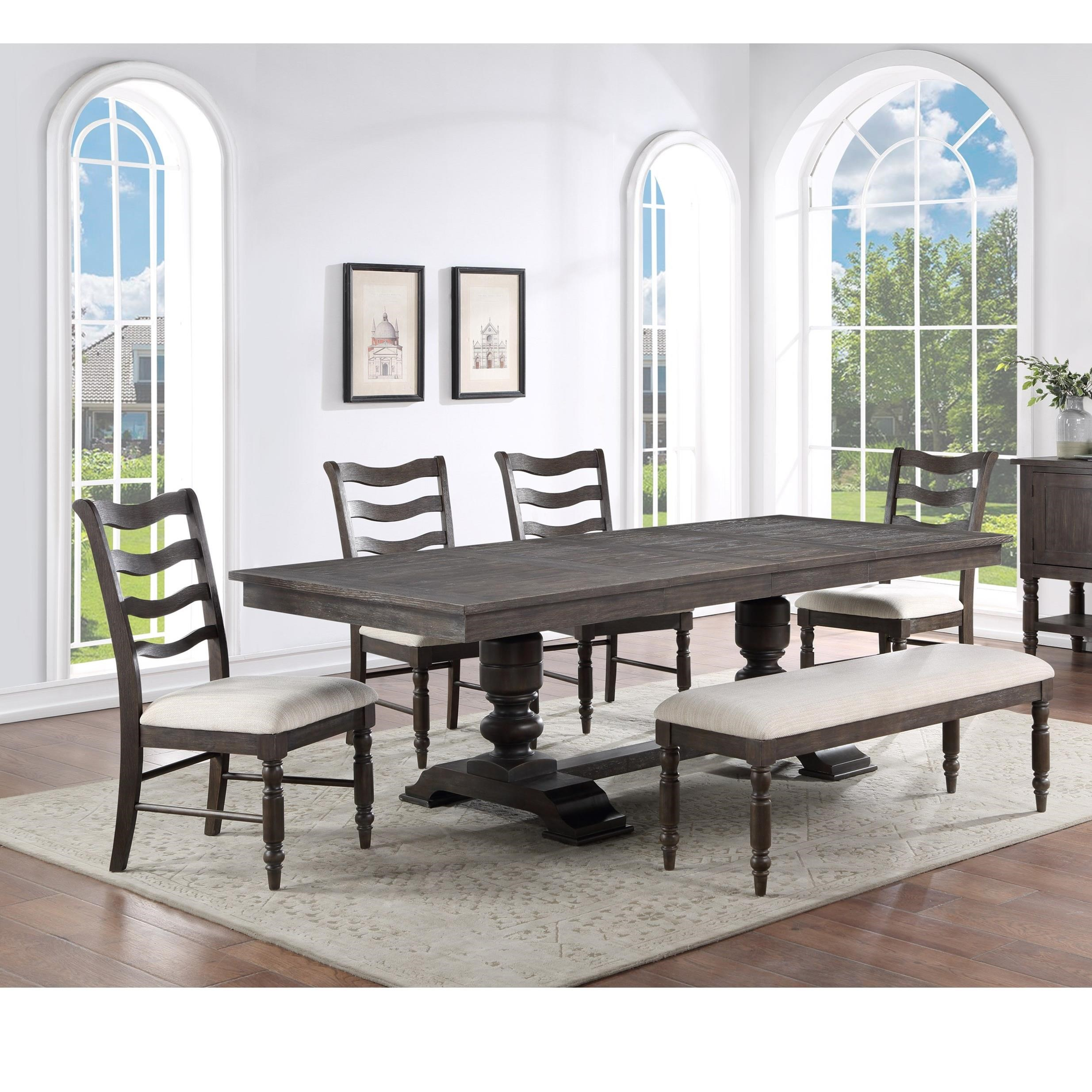 Hutchins Table & Chair Set with Bench by Steve Silver at Walker's Furniture