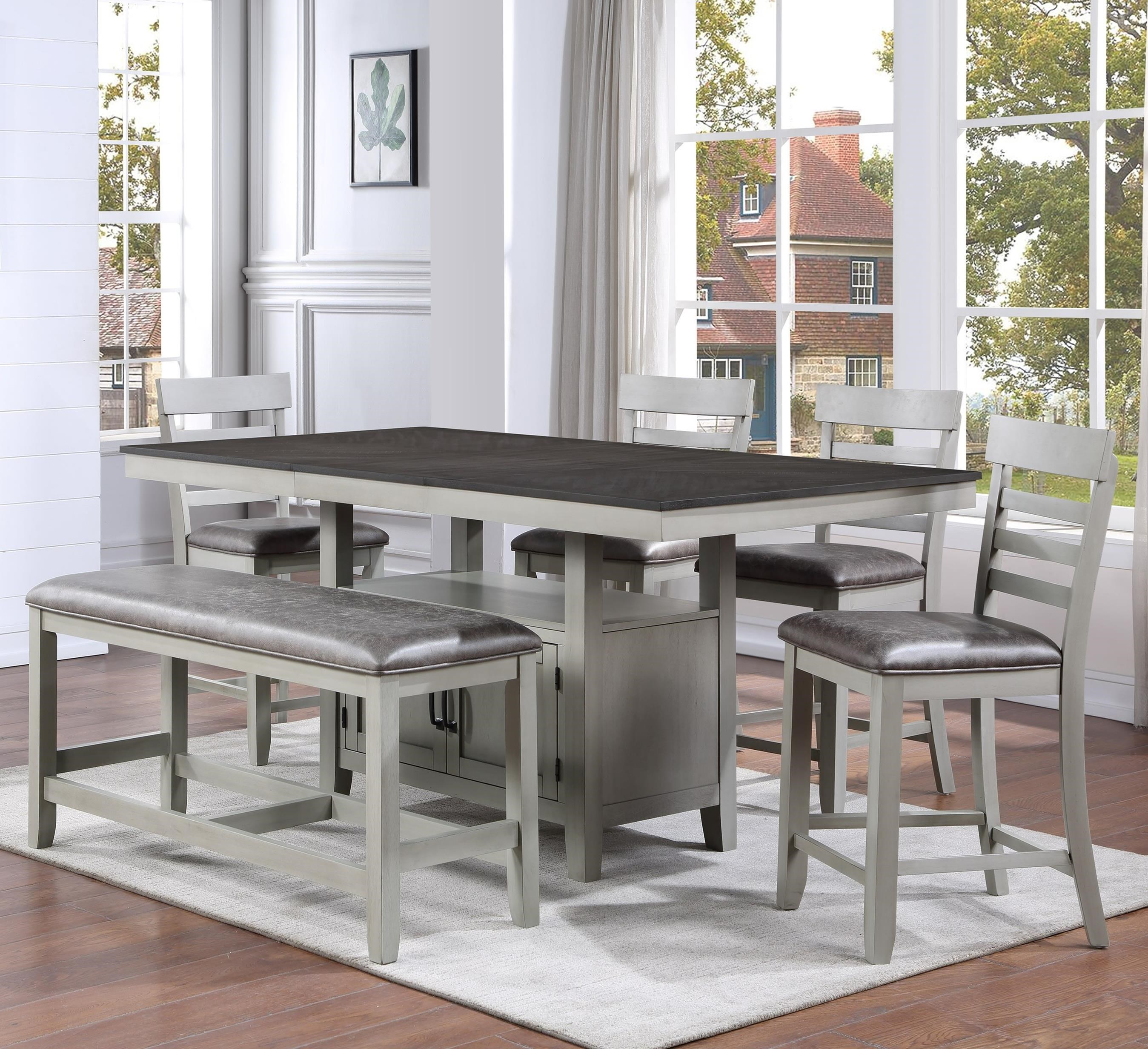 Hyland 6-Piece Counter Table Set with Bench by Steve Silver at Walker's Furniture