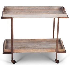 Rustic Conway Cart with Removable Serving Tray