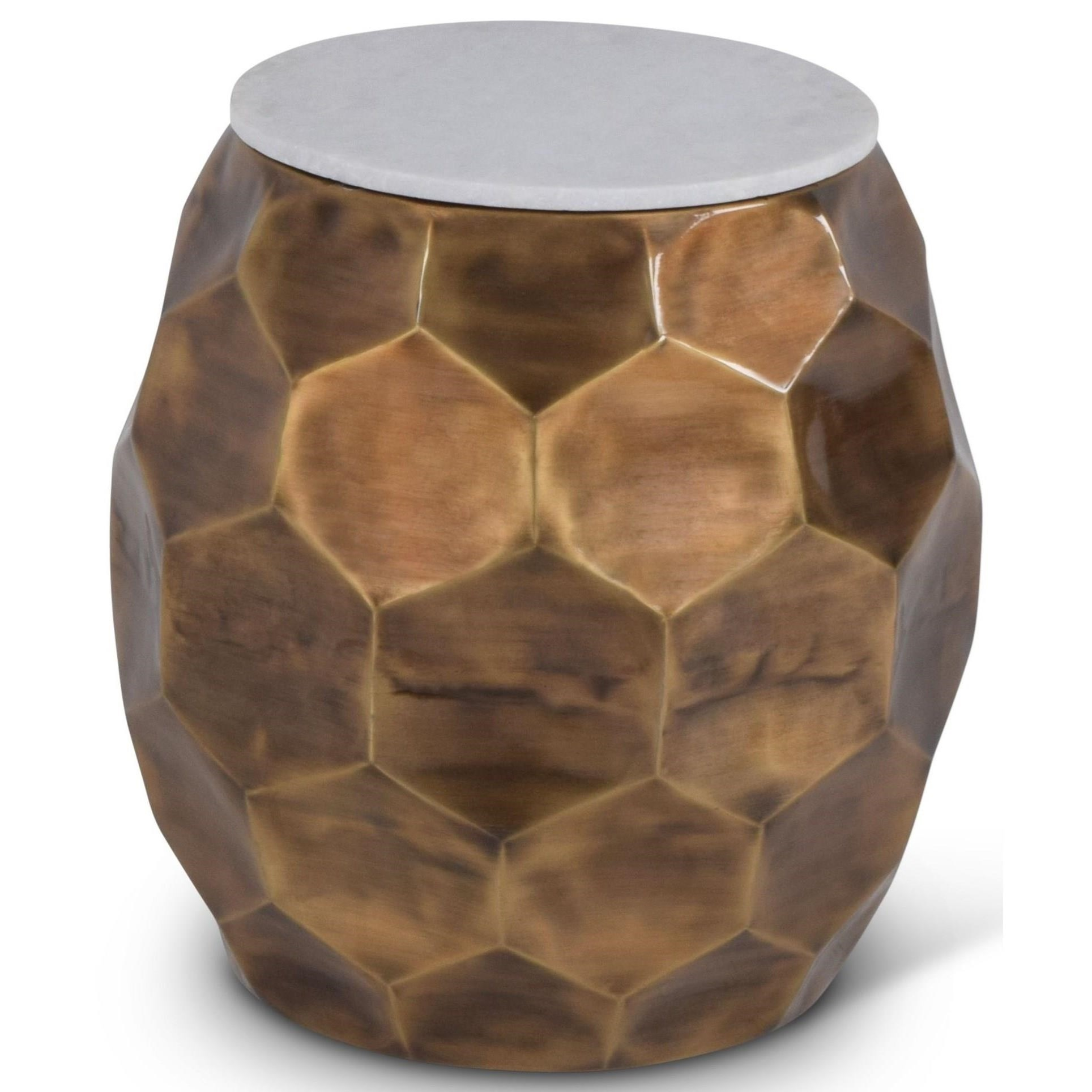 India Accents Stomp Round End Table with Marble Top by Steve Silver at Northeast Factory Direct